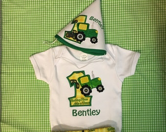 Personalized birthday party hat with tractor