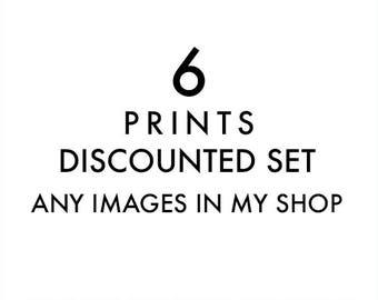 wall art sale, custom discounted print set, any 6 prints, your choice, photography set, nature photos, baby nursery decor, LA art prints