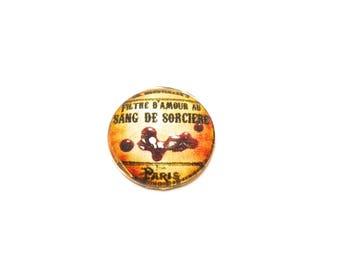 Glass cabochon round 2cm in diameter halloween witchcraft