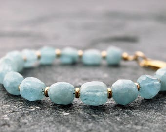 "aquamarine bracelet w/ gold-fill accents, faceted aquamarine, nuggets, March stone, medium, 6.75"" wrist, opaque aquamarine, one of a kind"