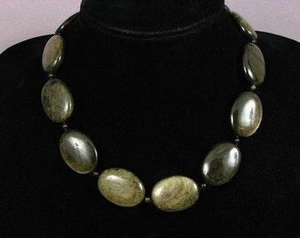 Necklace Golden Obsidian 30mm Flat Ovals 925 NSOB5420
