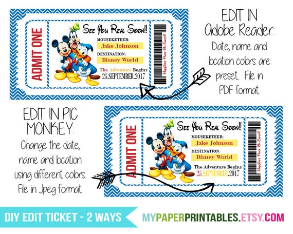Printable Ticket To Disney DIY Personalize INSTANT DOWNLOAD Disney World  Disneyland Boarding Pass Surprise Mickey Minnie Mouse Kids Disney  Printable Tickets Free