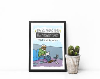 Airport Outlet Art Print, Illustrated Print, Funny Print, Humorous Print, Gift Idea, Business Humor