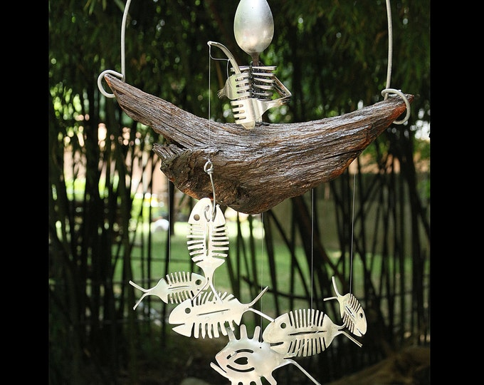 Steam Punk Spoon Skeleton, Bone Fish Chime, Model Figurine, Anatomy, Bone Skeleton, Biology, Skull Bone, Man Cave, Halloween Yard Decor Ooak