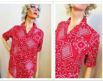 Vintage 50s Blouse, Red Cotton Blouse, Roll Up Sleeves, Red Handkerchief Print, Primstyle, Rockabilly Blouse, Mid Century, Size 36, Perfect