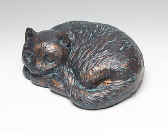 Sleeping Cat (Bronzed Resin/Plaster)