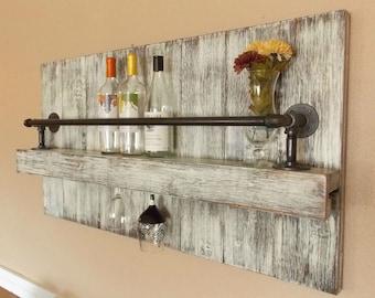 Rustic wine Rack; Industrial wine rack, wine rack, cottage chic, farmhouse decor, Wine, Rustic decor