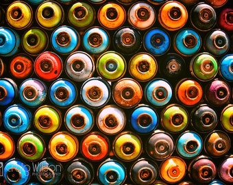 Fine art PHOTOGRAPHY high quality PRINT (Paint Circles) COLORS Green Yellow Red Blue Orange Turquoise Retro Street Cans rusty urban vintage