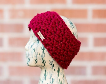 Crochet Ear Warmer Headband / READY TO SHIP - Red