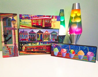 NOLA Colors 4x12 Canvas  Streetcar, Snoballs, Lamppost, Shotgun Houses New Orleans Photography and Art
