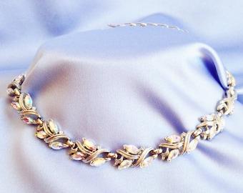 Elegant Aurora Borealis Marquis Rhinestone Silver Necklace