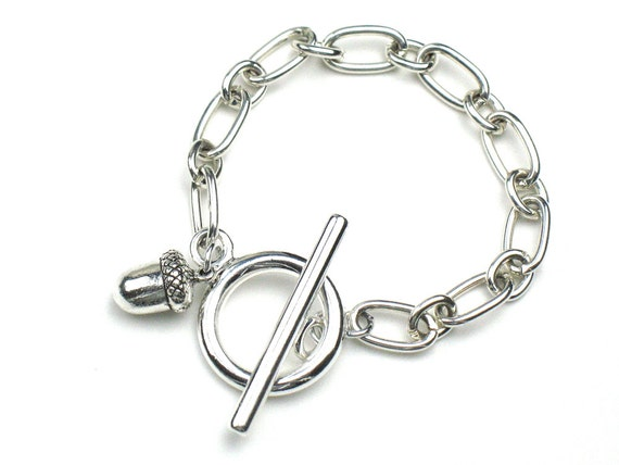 Acorn Bracelet in Silver with Chunky Link Chain and Toggle Clasp / Minimalist Jewelry / Fall Bracelet by elle and belle