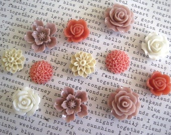 Flower Magnet Set, 12 pcs, Locker Magnets, Pink, Mauve, Tan and White, Girls Room Decor, Hostess Gifts, Wedding Favors, Locker Magnets