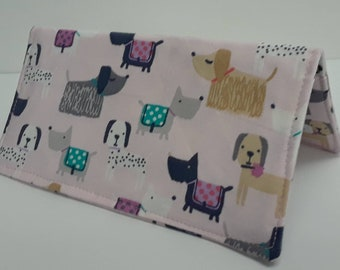 Cute Dogs Fabric Checkbook Cover Coupon Holder Clutch Purse Billfold Ready-Made Pink
