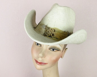 Vintage 1970s Rsistol Cowboy / Cowgirl / Western Hat, Boho Festival, Summer Linen, Pheasant Feathers, Satin Lining, Sz S Small
