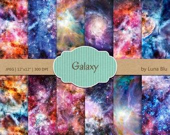 "Galaxy Digital Paper: ""Colorful Galaxy"" star digital paper, starry sky, outer space art, night sky digital paper, galaxy background, nebula"