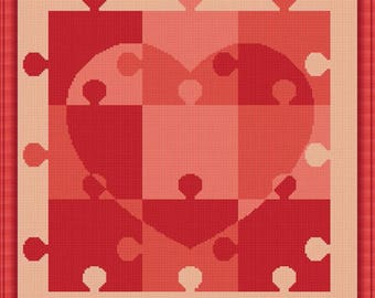Cross Stitch Pattern Heart of Puzzles mosaic heart monochrome pillows bag Counted Cross Stitch Pattern /Instant Download Epattern PDF File