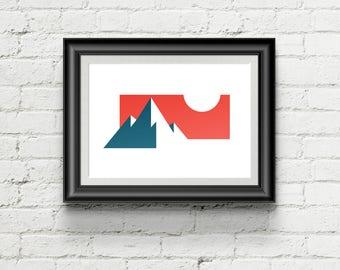 Minimal Mountain Sunset Art Print, Geometric Giclee Art Print, Mid Century Modern