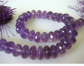 Amethyst Rondelles -  5.5-9.5mm Approx , Micro Faceted Rondelles - 16 inch Strand - 96 Pieces Approx