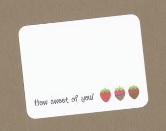 Chocolate Covered Strawberry Cards - Chocolate Covered Strawberries Cards, Strawberry Note Cards, Strawberry Thank You Cards, Chocolate Card