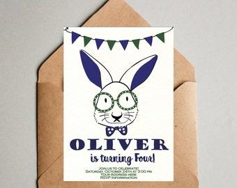 Bunny Birthday Invitation - Boy birthday invitation - Rabbit birthday invite - Easter Bunny Birthday boy - Bunny Boy Invitation navy blue