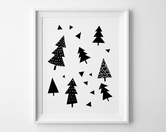 Wall print, nursery decor, black and white art, wall art print, nursery art, Scandinavian print, Winter Forest print, Mini Learners wall art