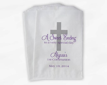 First Communion Favor Bags - Baptism or Religious Party Custom Favor Bags - Set of 25 Silver and Purple Paper Treat Bags (0073)