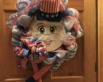4th of July Wreath, Uncle Sam Patriotic Wreath/Front Door Wreath,America,USA,Red White and Blue/4th of July/Military/Everyday/Welcome Gift
