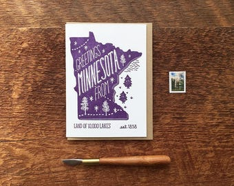 Minnesota Greeting Card, Greetings from Minnesota, A6 Folded Note Card, Blank Inside