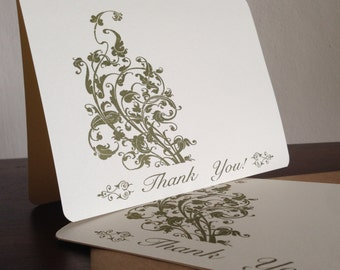 Filigree Thank You Cards, Screen Printed 50-Pack Greeting Cards