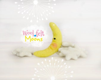 Wool Felt Moons - Wool Felt Moons - Large Felt Moon - Small Felt Moon - Wool Felt Moons - DIY Baby Mobile Moon - DIY Crafts - Felt Moons