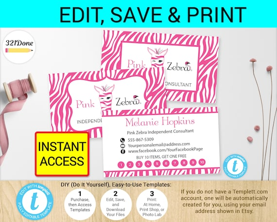 Pink zebra business punch card template printable printed reheart Images