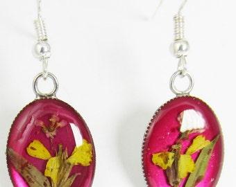 Tiny Yellow Alyssum on Burgundy Resin, Real Flower Earrings, Resin, Pressed Flower Jewelry (1813)