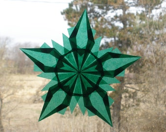 Dark Green Window Star Intricately Folded Art Craft Waldorf Montessori ECFE Homeschool Classrooms - EcoFriendly Window Suncatcher