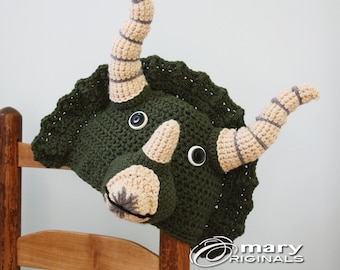 Triceratops Hat, Dinosaur Hat,Dino Hat, Halloween Costume, Animal Hat, Crochet Beanie, Boy's Clothing, Girl's Clothing, Photography Prop,