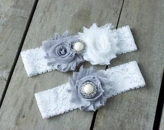 Grey and White Wedding Garter Set, Bridal Garter, Wedding Garter, Shabby Chic Garter