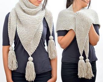 Triangle Scarf, Knit Scarf, Triangle Tassel Scarf, Womens Scarf, Shawl Blanket Scarf, Plaid Scarf, Knit Pashmina Knitted Scarf, Winter Scarf