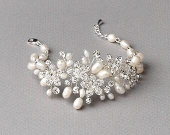 Floral Bridal Bracelet, Pearl Flower Bracelet, Freshwater Pearl Wedding Bracelet, Flower Rhinestone Bracelet, Floral Bracelet,Bride ~JB-4819