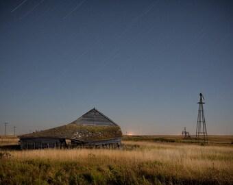 Rural Scene, Farm Building, Fall Scene, Night Sky, Moonlight, Rural Landscape, Windmill, Abandoned Farm