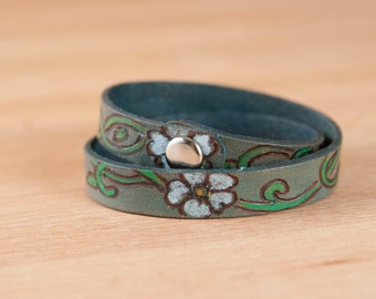 Leather Wrap Bracelet for Women - Double wrap skinny cuff with flowers and vines in the Willow pattern -
