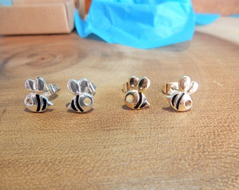 Bee Earrings, Honeybee Studs, Insect Jewelry