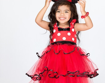 MINNIE MOUSE dress, Minnie Mouse birthday outfit, Minnie Mouse tutu Dress, Red Minnie Mouse dress, 1st Birthday dress, Minnie Mouse Outfit