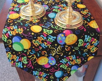 """Birthday Party Table Runner 54"""" Reversible Birthday Table Runner Balloon Table Runner Boy birthday runner girl birthday runner"""