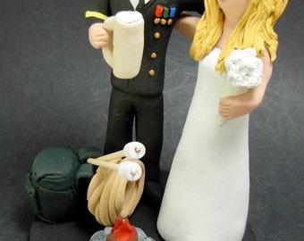 Army Groom In Uniform Wedding Cake Topper, Dress Blues Uniform Wedding Cake Topper, Beer Stein Wedding Cake Topper, Army Wedding Cake Topper