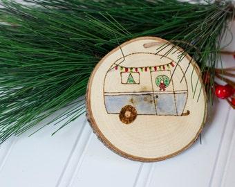 Retro Camper Wood Christmas Ornament