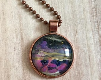 Pendant Necklace, Vintage Retro Vibe, Antiqued Copper Color, Fashion Jewelry, Boho, Hippie, Abstract Art, One of a Kind, 25mm Cabochon