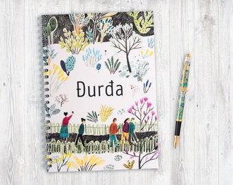 Personalised notebook with unique design and your name on it