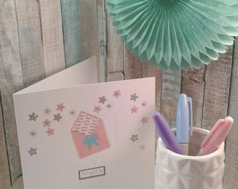 THINKING OF YOU/ Card/ Greetings Card/ Friendship/ Here for you/ Flowers / personalised