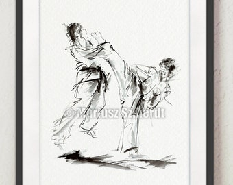 Karate Martial Arts Painting Home Decor Poster Wall Art Print.