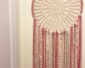 Large Dreamcatcher - pink and cream (14in)